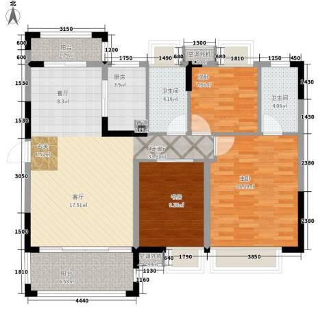 富盈四季华庭3室1厅2卫1厨105.00㎡户型图