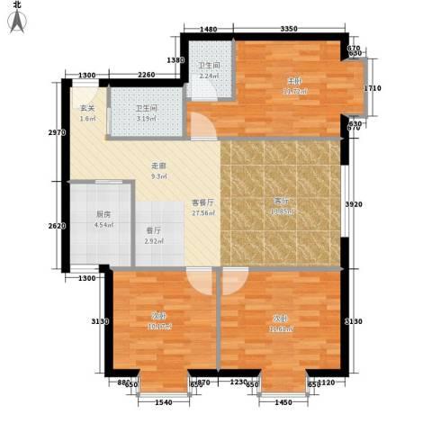 百花明珠3室1厅2卫1厨105.00㎡户型图