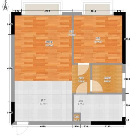 都市晨光1室0厅1卫1厨51.11㎡户型图