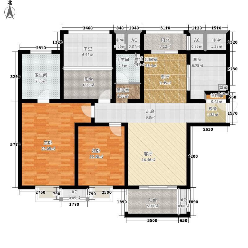 苏州世茂运河城138.87㎡五期9号楼高层标准层B2户型
