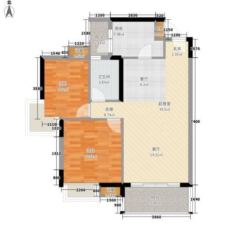 中海康城2室0厅1卫1厨80.00㎡户型图