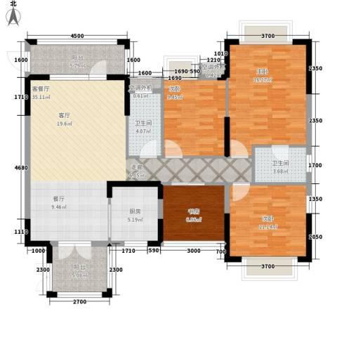 富盈四季华庭4室1厅2卫1厨135.00㎡户型图