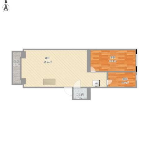 安华西里1室1厅1卫1厨56.00㎡户型图