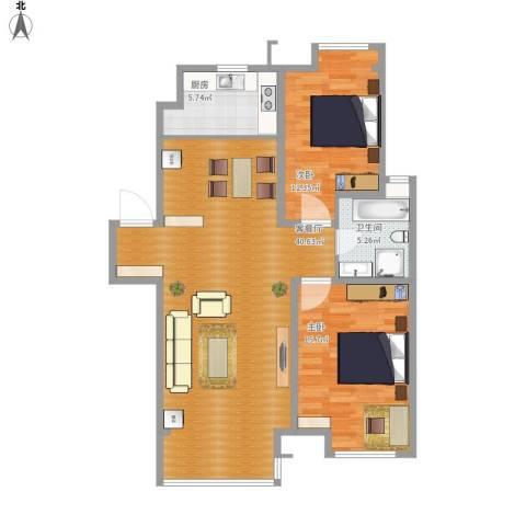 保利溪湖林语三期2室1厅1卫1厨110.00㎡户型图