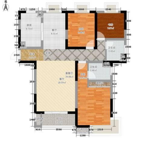 齐河德百玫瑰园3室1厅2卫1厨136.00㎡户型图