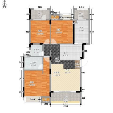 美的林城时代3室0厅2卫1厨125.00㎡户型图