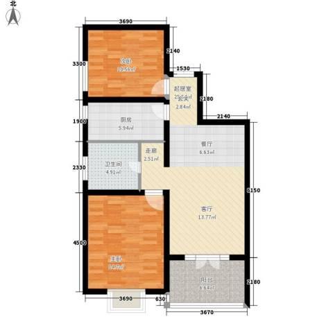 金茂晓苑2室0厅1卫1厨90.00㎡户型图