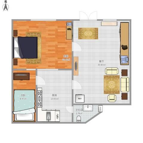 尧苑2室1厅1卫1厨104.00㎡户型图