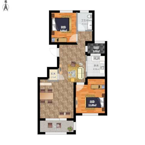 朗诗保利麓院2室1厅1卫1厨96.00㎡户型图