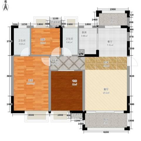 富盈四季华庭3室1厅2卫1厨107.00㎡户型图