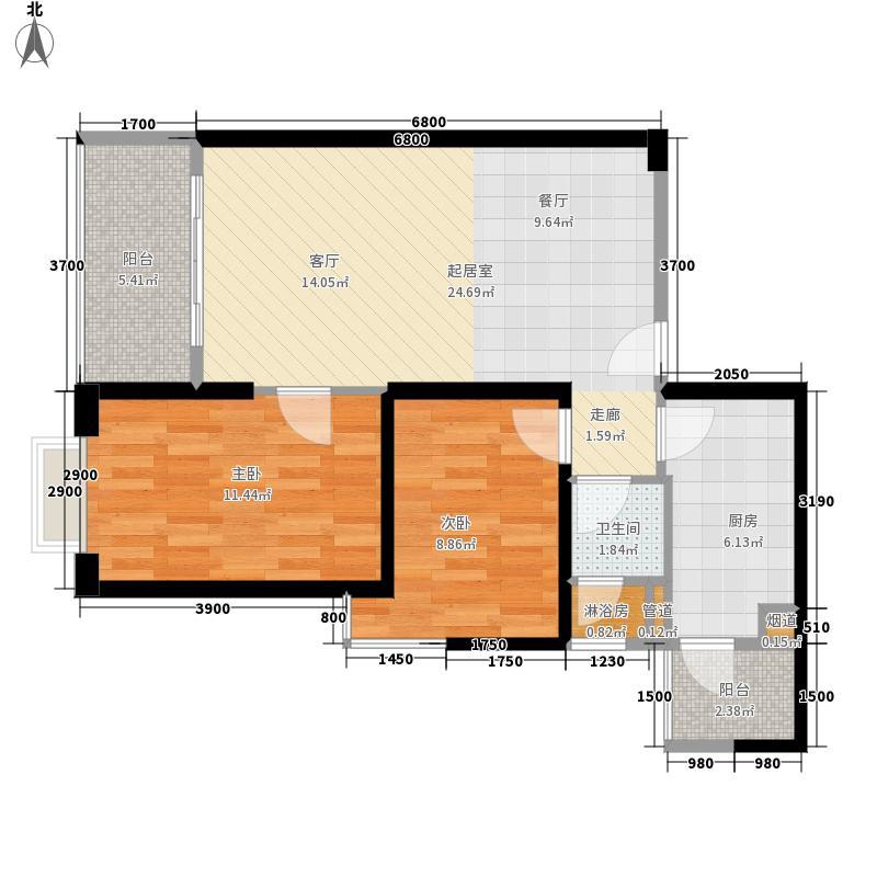 海伦国际82.00㎡2号地块城市广场户型2室2厅