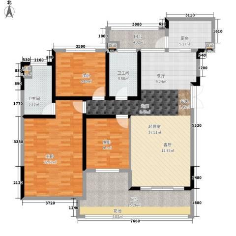 美的林城时代3室0厅2卫1厨128.00㎡户型图