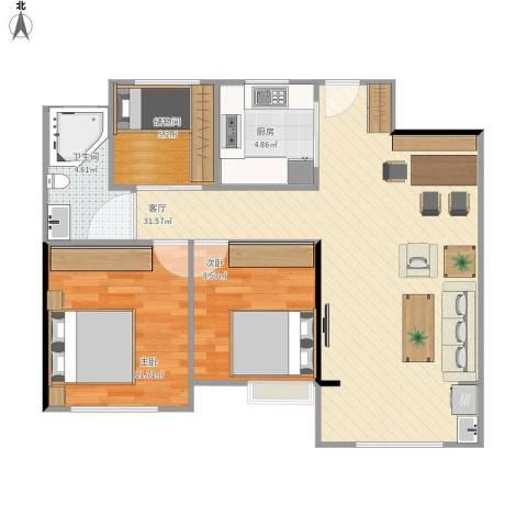 景瑞望府2室1厅1卫1厨90.00㎡户型图