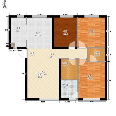 西美70后院3室0厅2卫1厨115.00㎡户型图