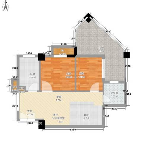 森林公园壹号2室0厅1卫1厨72.00㎡户型图