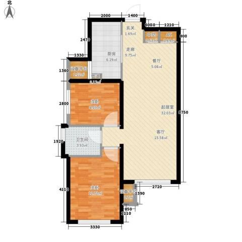 西美70后院2室0厅1卫1厨92.00㎡户型图