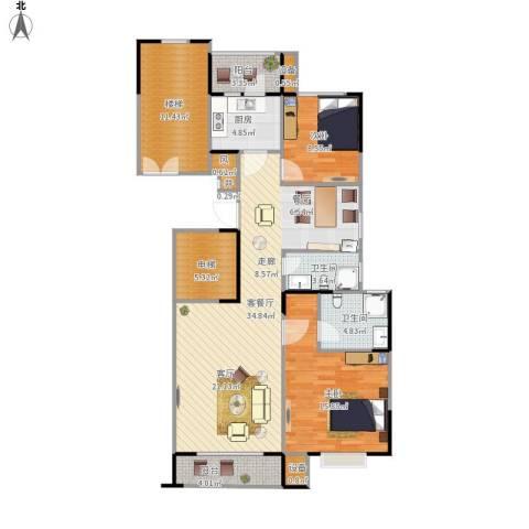 京门府2室1厅2卫1厨135.00㎡户型图
