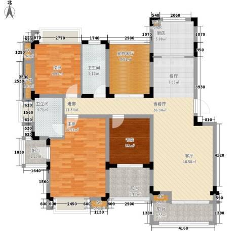 同景国际城恋山3室1厅2卫1厨111.59㎡户型图