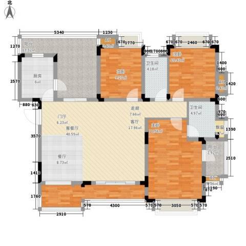 同景国际城恋山3室1厅2卫1厨118.89㎡户型图