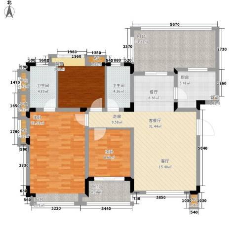 同景国际城恋山3室1厅2卫1厨106.39㎡户型图