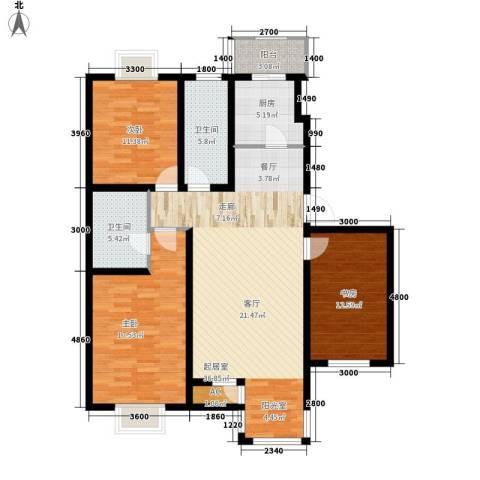 第六大道第博雅园3室0厅2卫1厨124.00㎡户型图