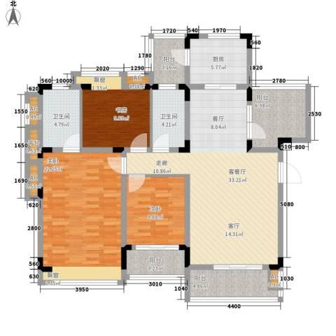 同景国际城恋山3室1厅2卫1厨108.89㎡户型图