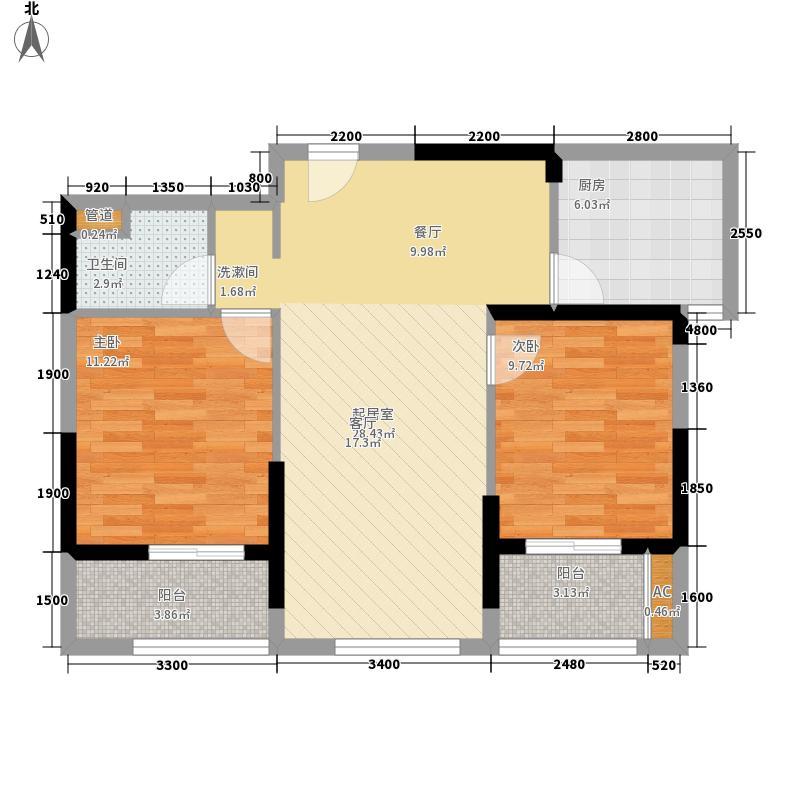 卧龙丽景湾90.00㎡5B1户型2室2厅