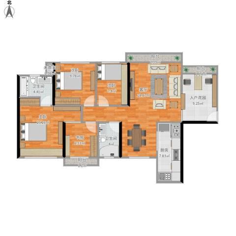 龙光 海悦华庭4室1厅2卫1厨136.00㎡户型图
