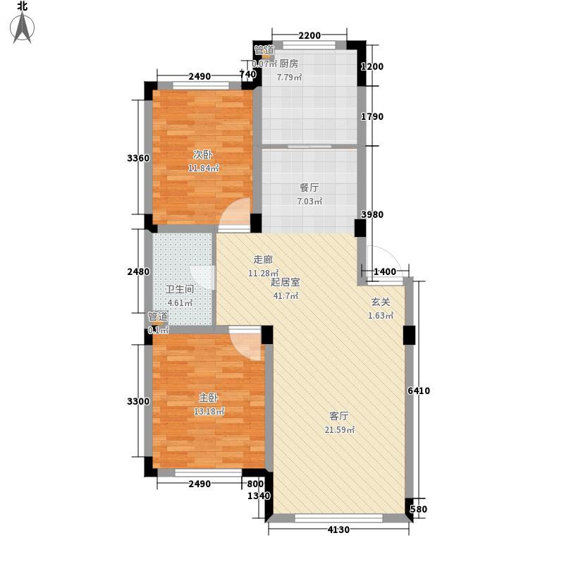 雷明锦程二期88.92㎡雷明锦程F户型2室2厅