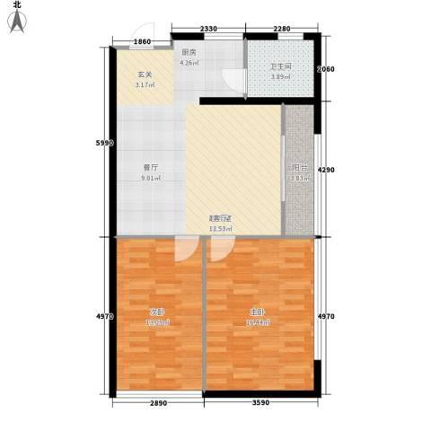 蚂蚁工房2室0厅1卫0厨73.00㎡户型图