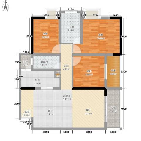 都和广场3室0厅2卫1厨94.00㎡户型图