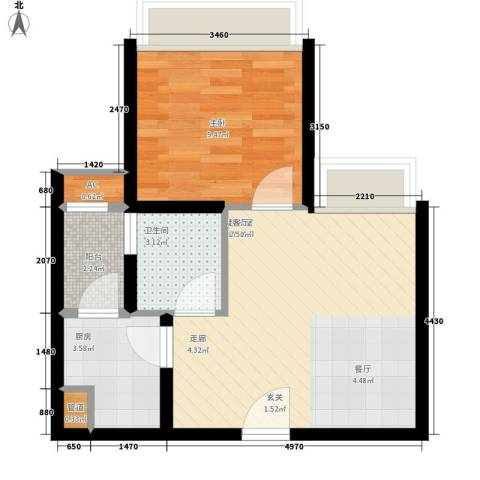 东风广场1室0厅1卫1厨43.00㎡户型图