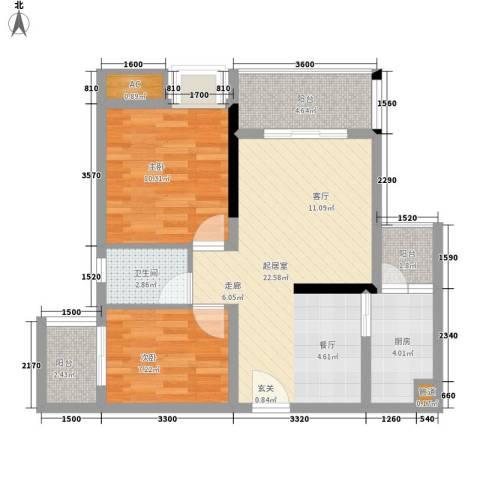 都和广场2室0厅1卫1厨59.00㎡户型图