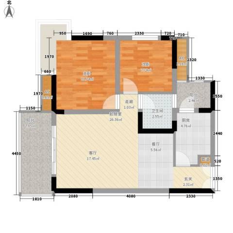 欧鹏K城2室0厅1卫1厨95.00㎡户型图