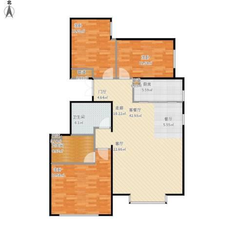北京城建·世华龙樾3室1厅2卫1厨138.00㎡户型图