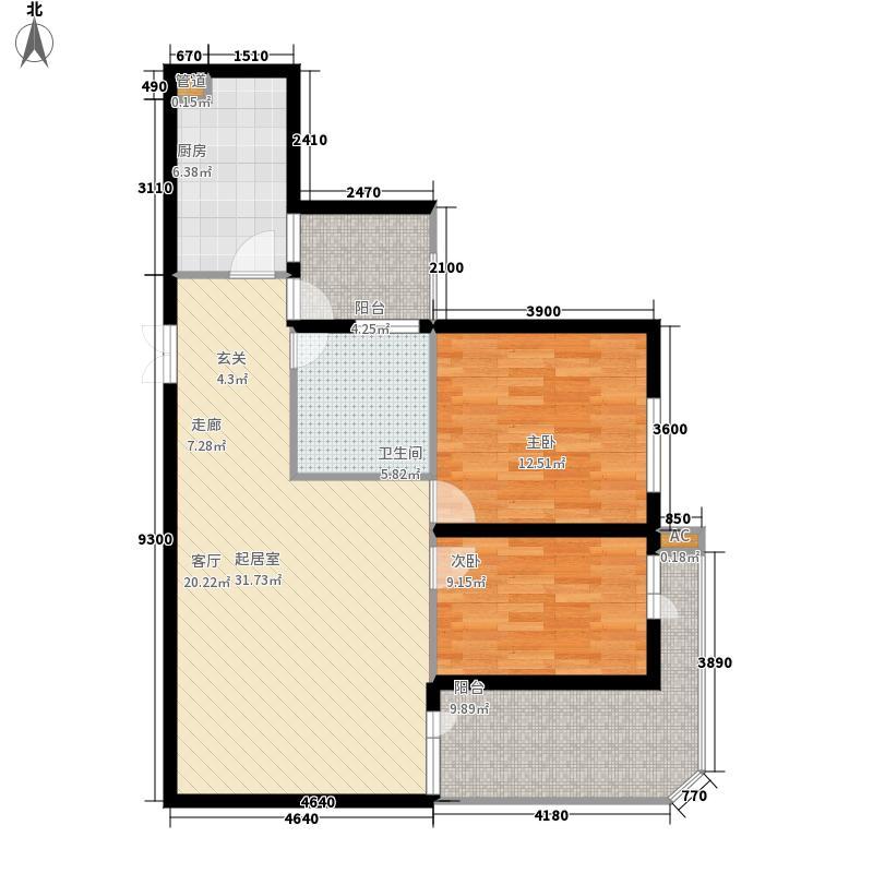 中天花园中天花园户型图御景湾A―3户型两房两厅双阳台(13/18张)户型10室