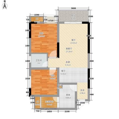 都和广场2室1厅1卫1厨67.00㎡户型图