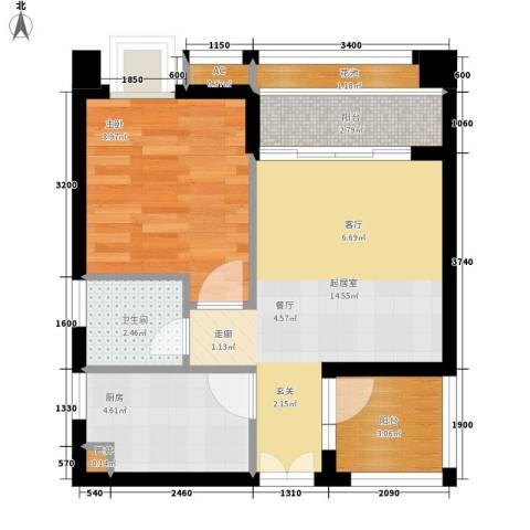 永江国际公馆1室0厅1卫1厨57.00㎡户型图