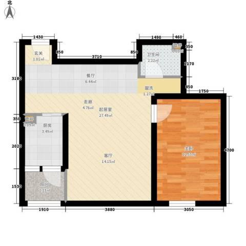展轮新世界1室0厅1卫1厨69.00㎡户型图
