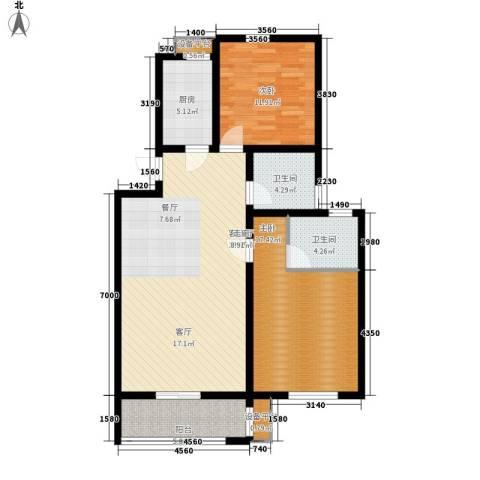 新新家园2室1厅2卫1厨94.00㎡户型图