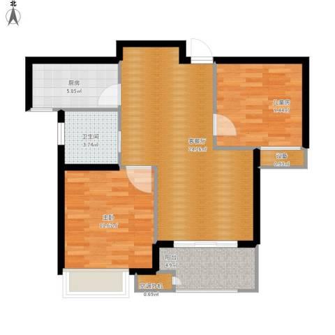 新城国际花都2室1厅1卫1厨86.00㎡户型图