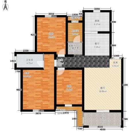 新新家园3室1厅2卫1厨122.00㎡户型图