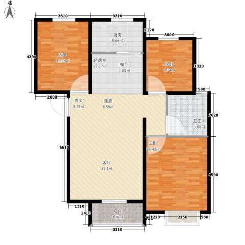 曦城3室0厅1卫1厨105.00㎡户型图