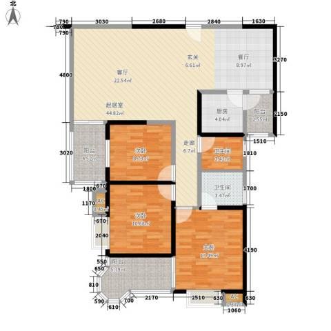 顺天黄金海岸3室0厅2卫1厨123.00㎡户型图