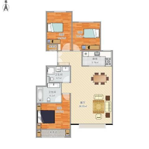 北京城建·世华龙樾3室1厅2卫1厨126.00㎡户型图