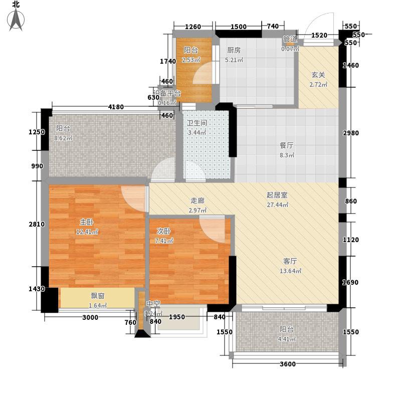 平湖秋月三期88.08㎡二房二厅二卫户型2室2厅1卫