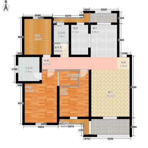 新新家园3室1厅2卫1厨131.00㎡户型图
