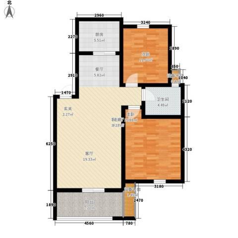 新新家园2室1厅1卫1厨93.00㎡户型图