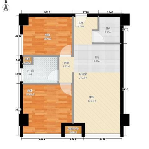 福明花园2室0厅1卫1厨74.00㎡户型图
