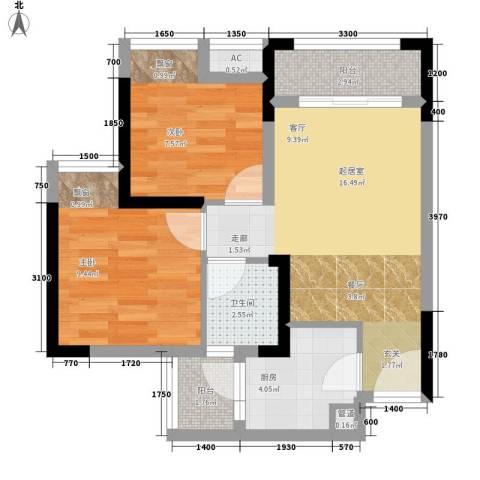 极鼎城市经典2室0厅1卫1厨51.00㎡户型图